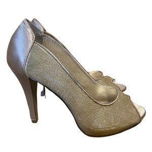 Gold Mesh and Satin Open Toe Heels